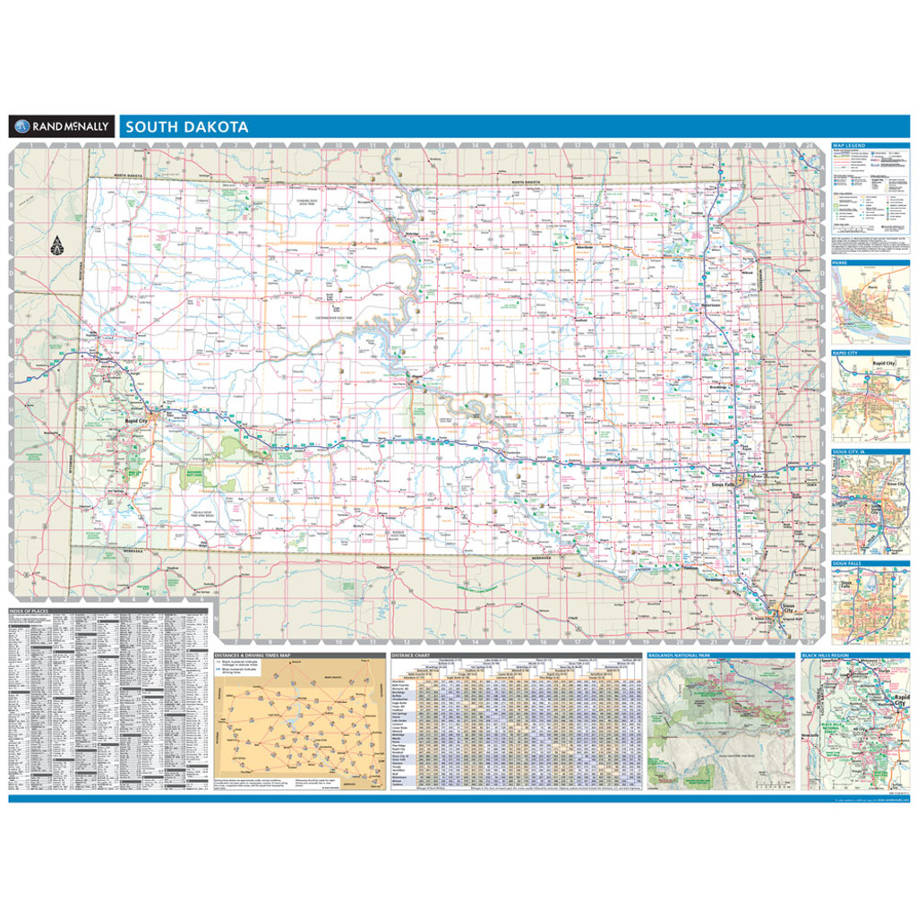 Rand Mcnally South Dakota State Wall Map
