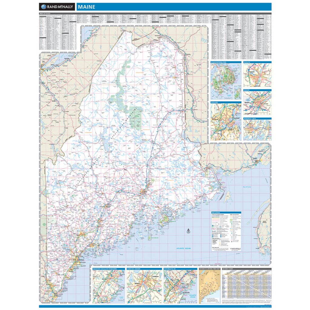 State Map Of Maine.Rand Mcnally Maine State Wall Map