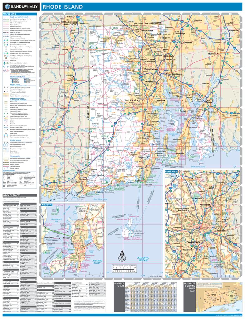 Rand McNally Rhode Island State Wall Map