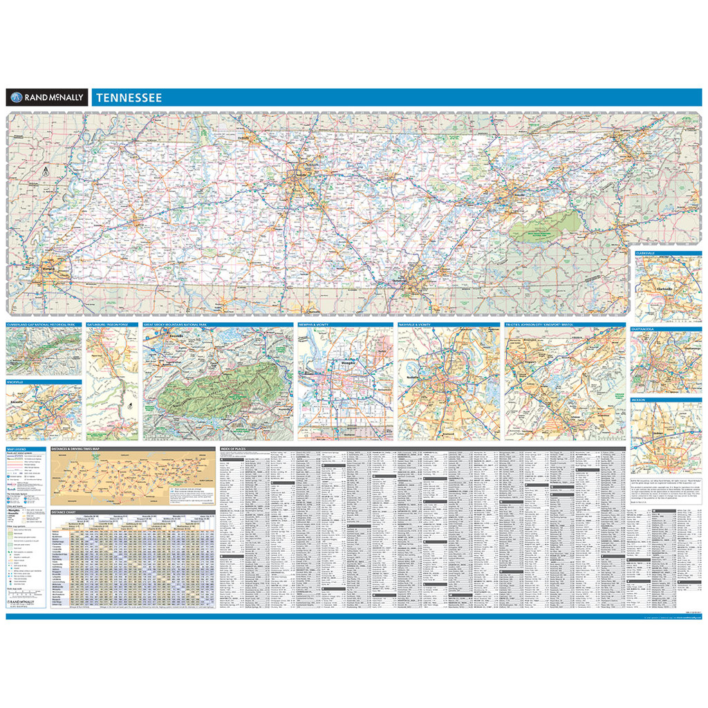 Rand McNally Tennessee State Wall Map