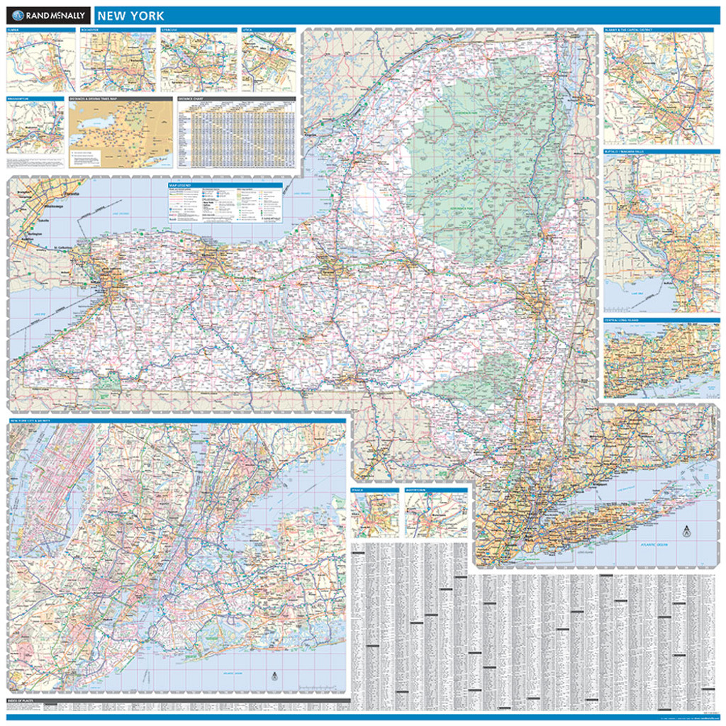 State Map Of New York.Rand Mcnally New York State Wall Map