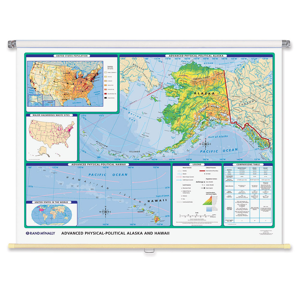 World & U.S. Advanced Physical-Political 3-Wall Map Combo | Grades 6 ...