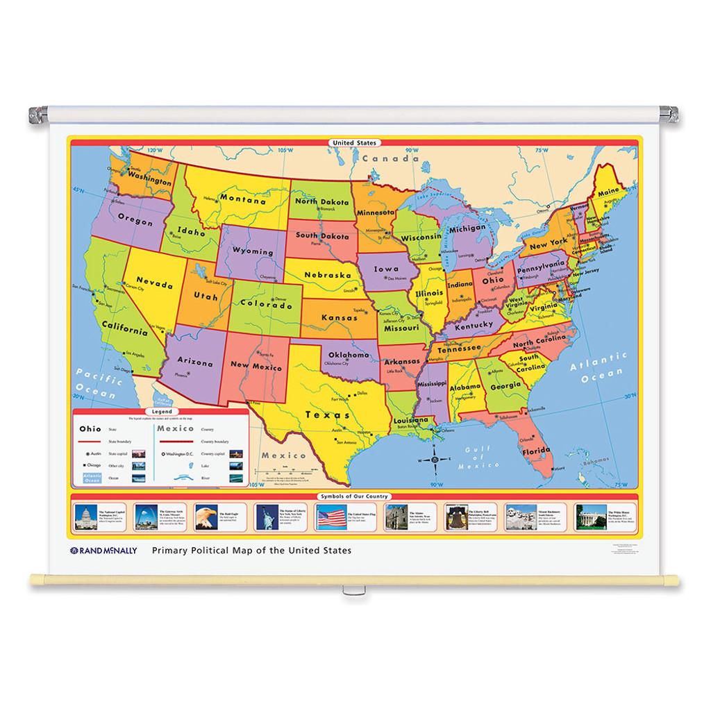 World & U.S. Primary Political 3-Wall Map Combo | Grades Pre-K - 2