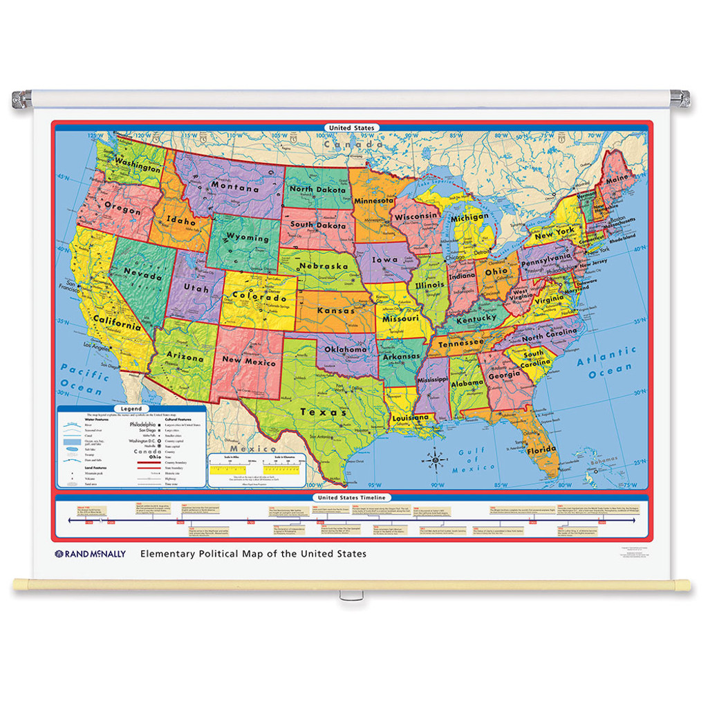 World & U.S. Elementary Political 3-Wall Map Combo | Grades 2-5