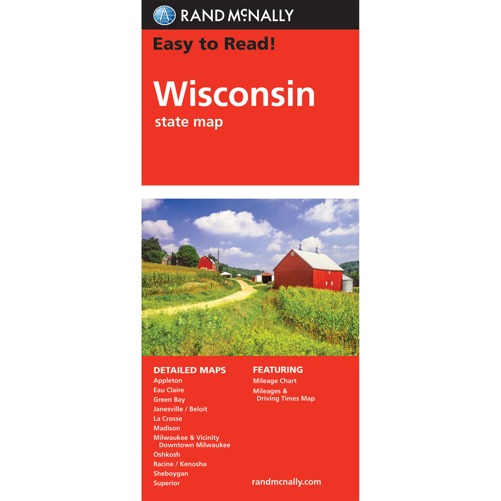 Milwaukee State Map.Rand Mcnally Easy To Read State Folded Map Wisconsin