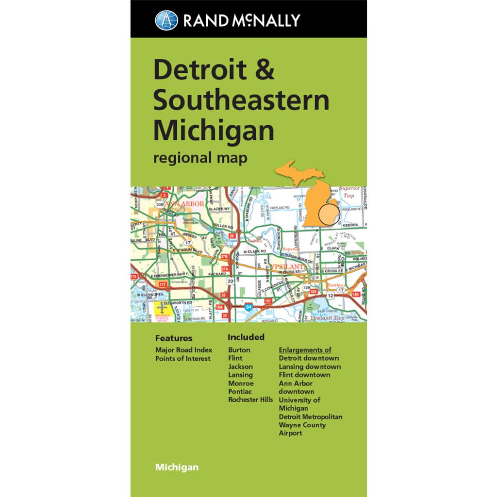 Folded Map: Detroit and Southeastern Michigan Regional Map