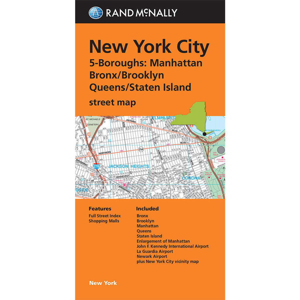 Map Of New York Islands.Folded Map New York City 5 Boroughs