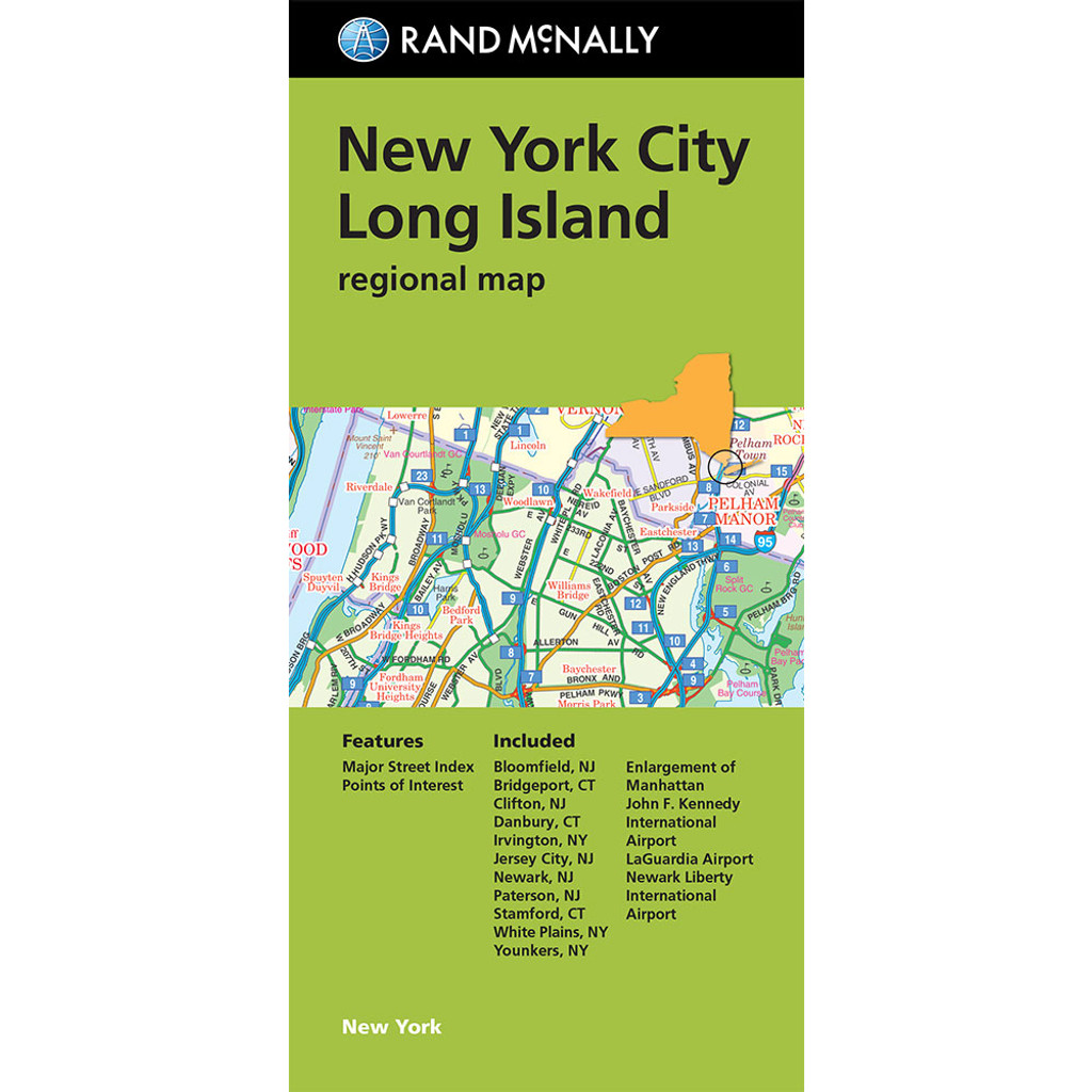 Folded Map: New York City Long Island Regional Map