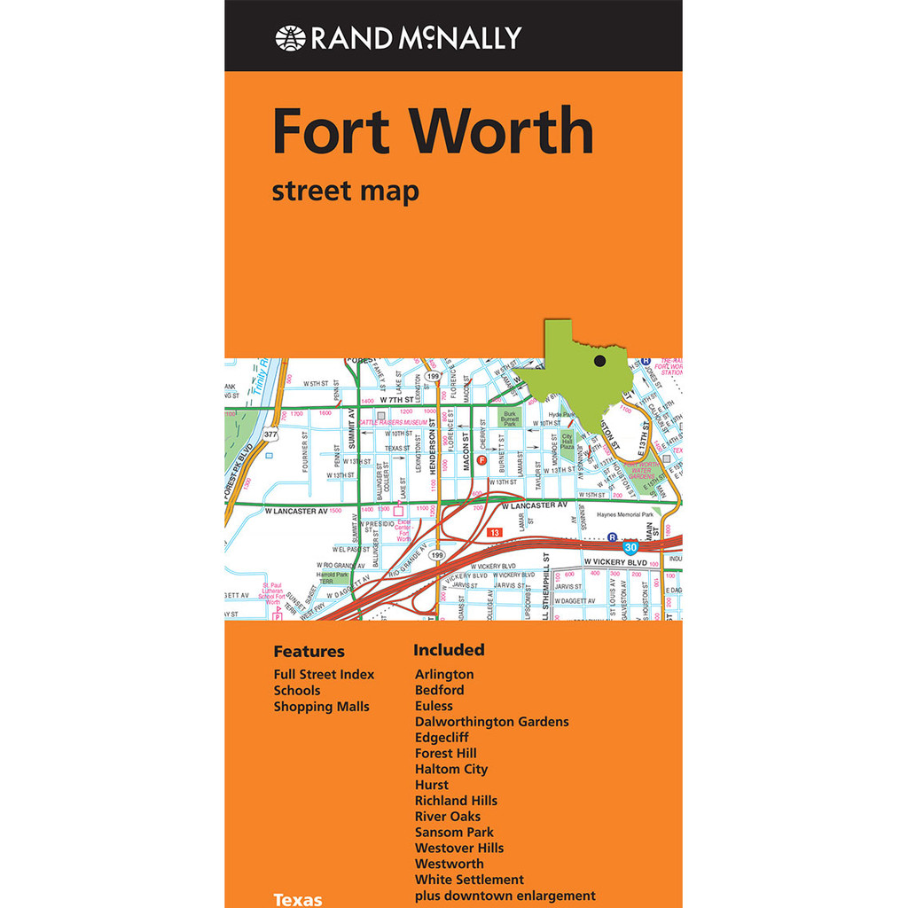 Folded Map: Fort Worth Street Map