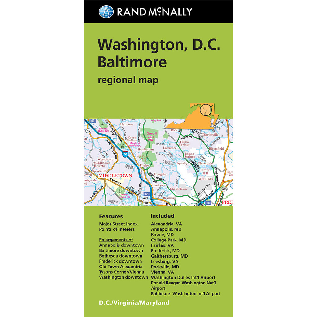 Folded Map Washington D C Baltimore Regional Map
