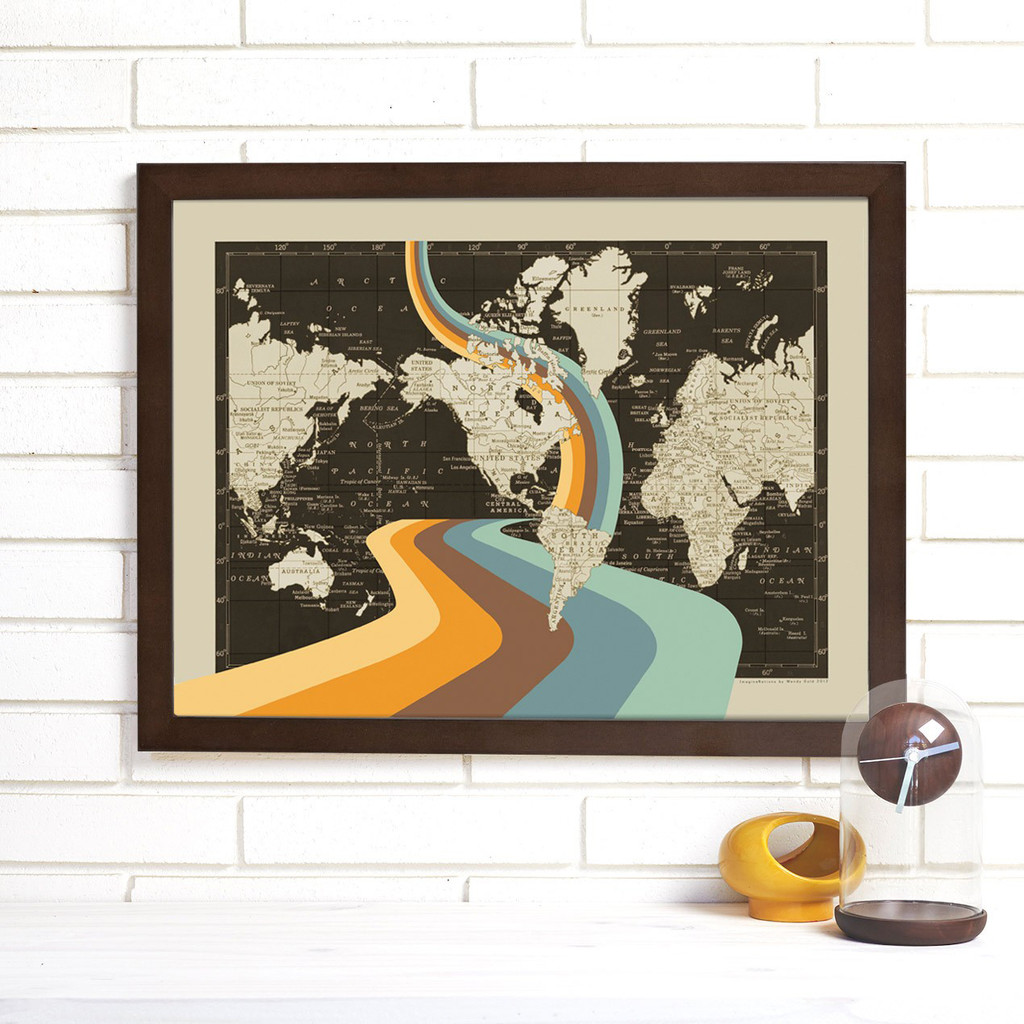 """Not All Who Wander Are Lost"" Lithograph Wall Map"