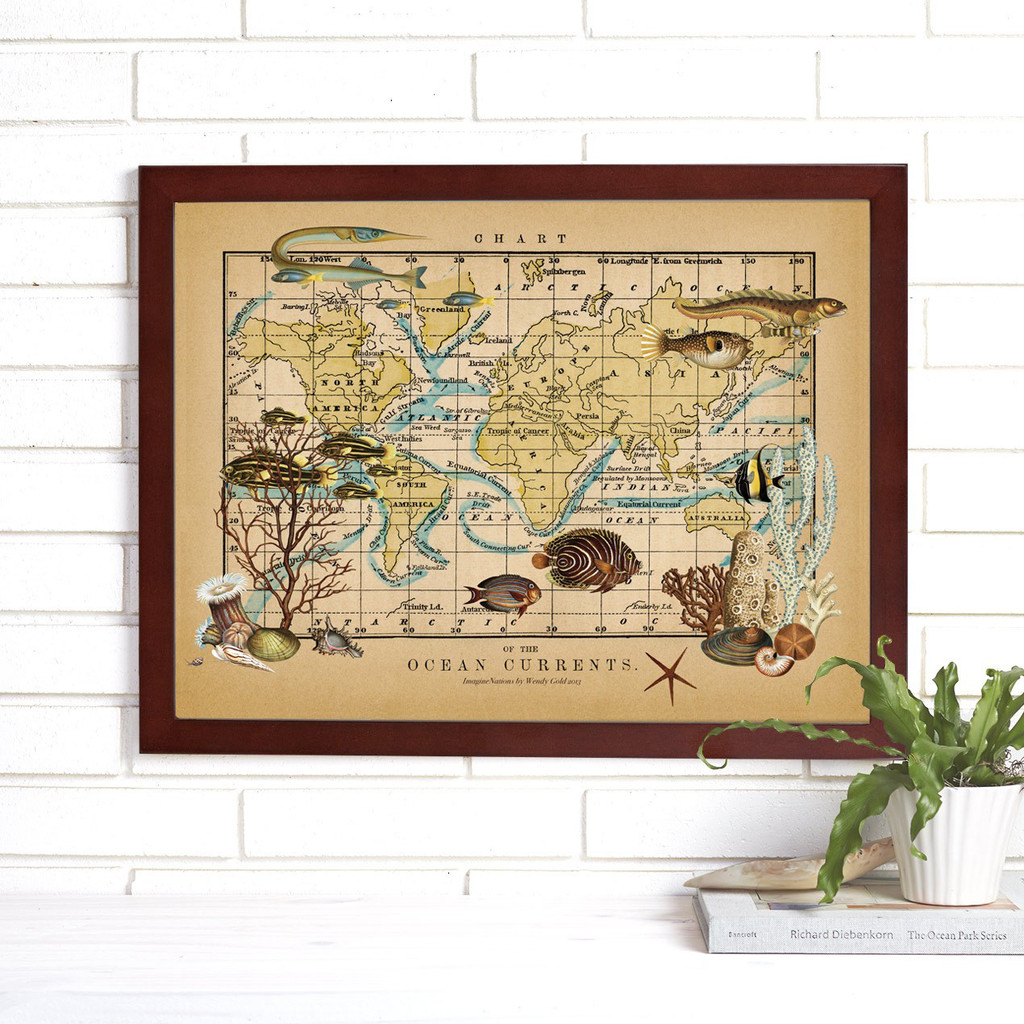 """Ocean Currents"" Lithograph Wall Map"