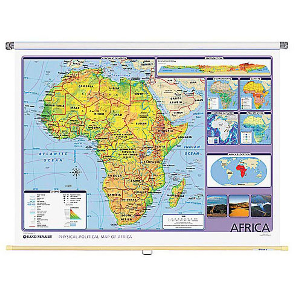Africa Physical Political Wall Map Rand Mcnally Store