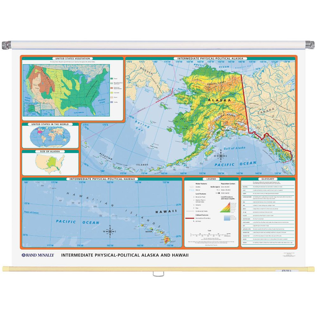 Alaska Physical-Political State Wall Map - Rand McNally Store