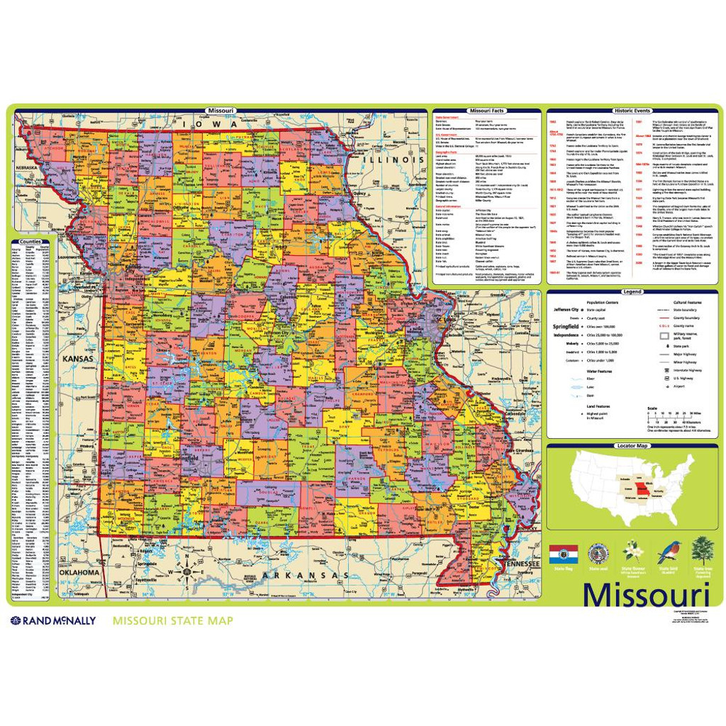 Missouri Political State Wall Map Rand Mcnally Store