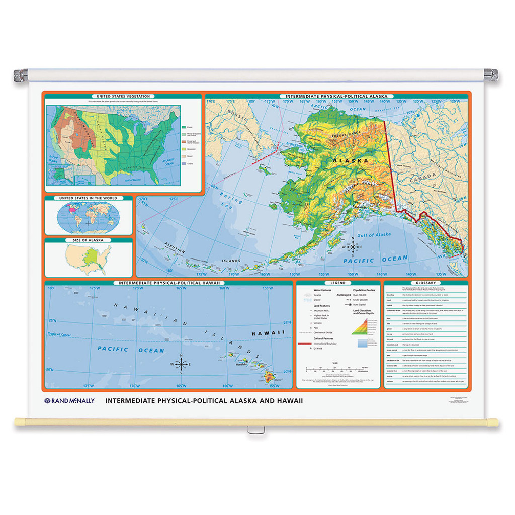 World & U.S. Intermediate Physical-Political 3-Wall Map Combo | Grades 4-12