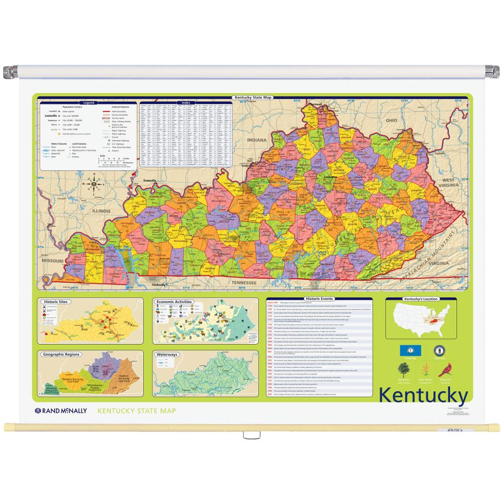 Kentucky Political State Wall Map Rand Mcnally Store