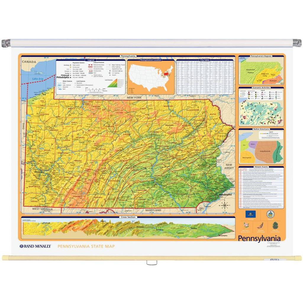 Pennsylvania Physical Political State Wall Map Rand Mcnally Store