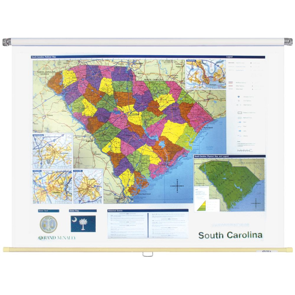 South Carolina Political State Wall Map - Rand McNally Store