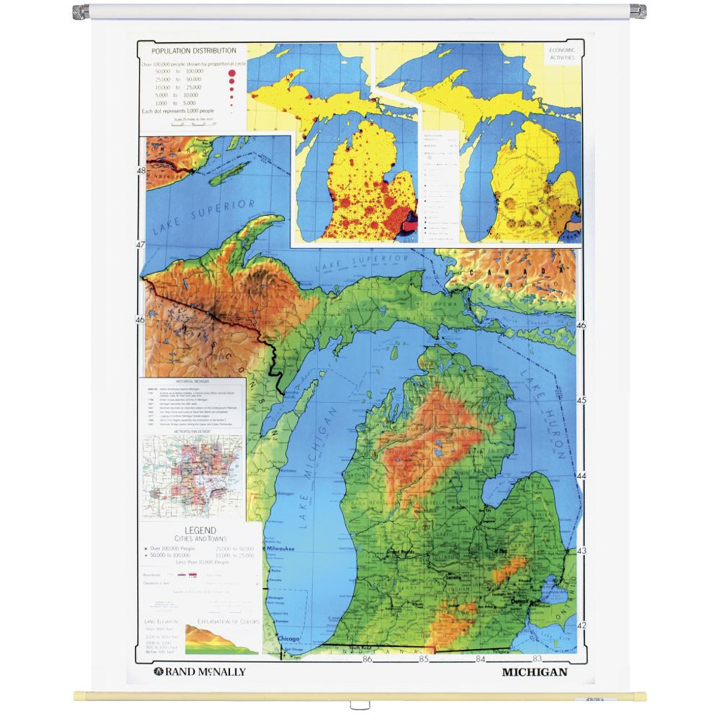 Michigan Physical-Political State Wall Map