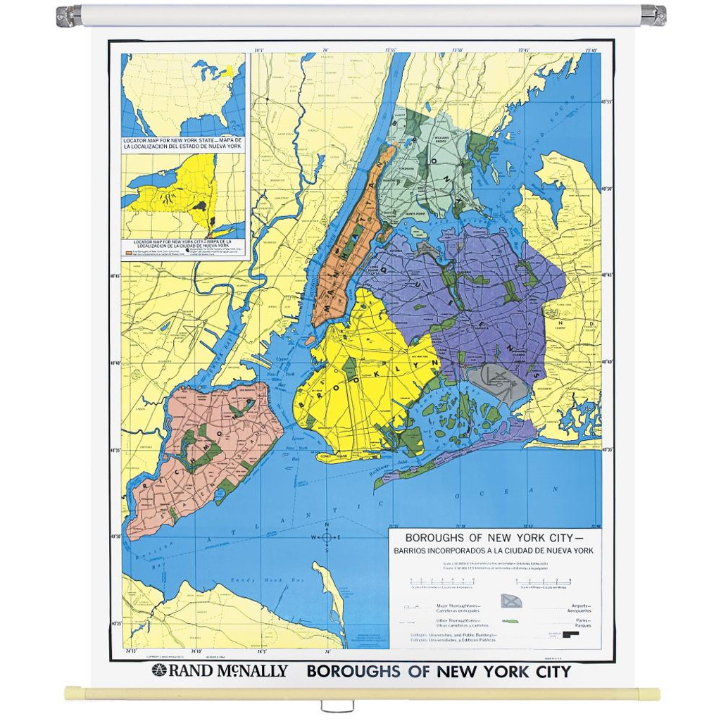 State Map Of New York.New York City Boroughs Wall Map Rand Mcnally Store