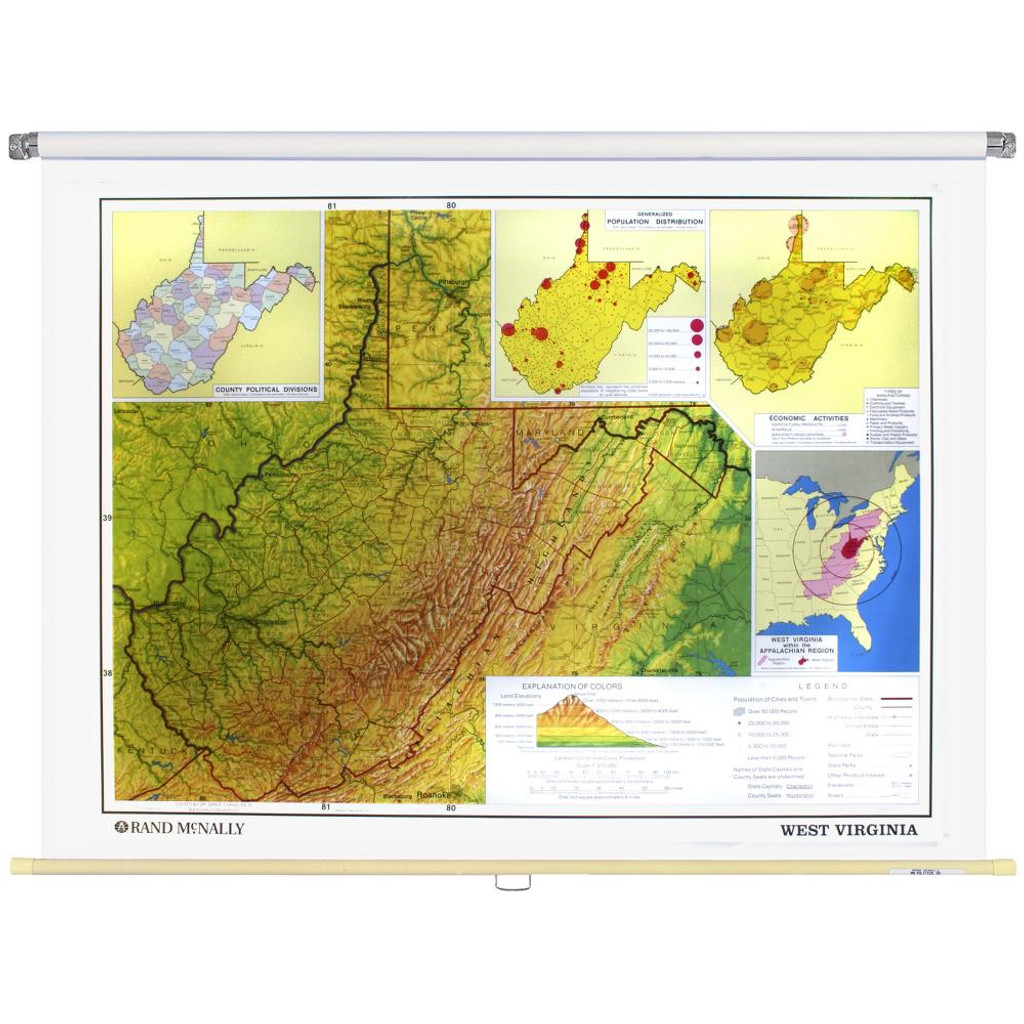 West Virginia Physical-Political State Wall Map