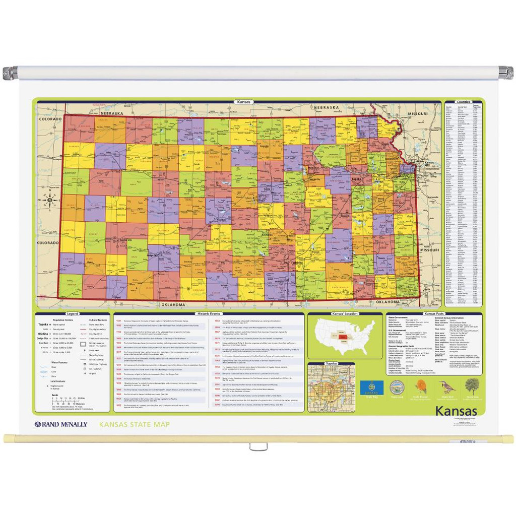 State Map Of Kansas And Oklahoma.Kansas Political State Wall Map Rand Mcnally Store