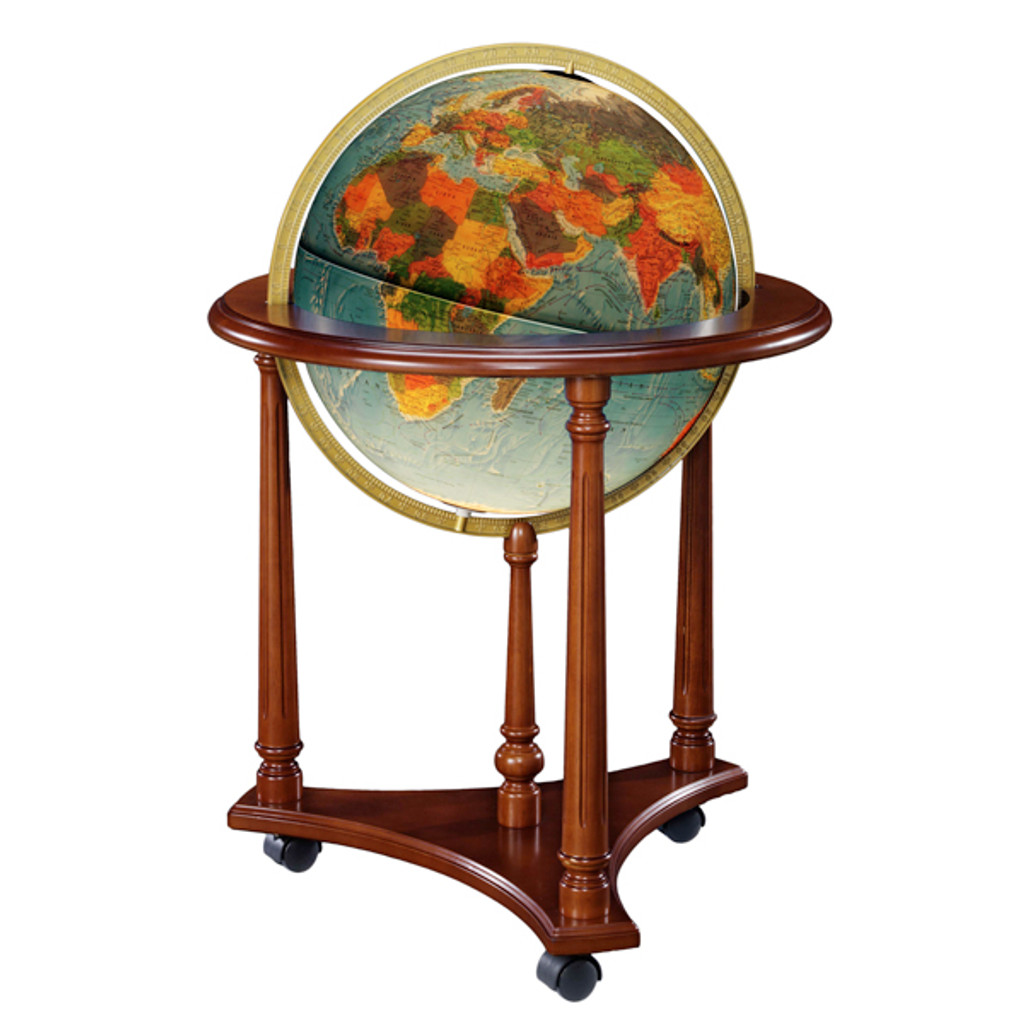 "LaFayette Blue Oceans 16"" Illuminated Floor Globe"