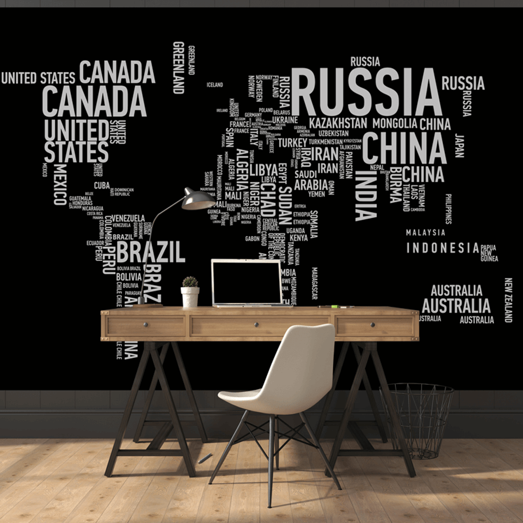Wordcloud World Map Wall Mural Rand Mcnally Store