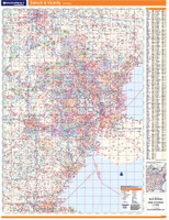 ProSeries Wall Map: Detroit Michigan Regional
