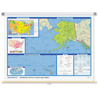 World & U.S. Advanced Political 3-Wall Map Combo | Grades 6-12+