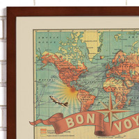 """Bon Voyage"" Lithograph Wall Map"