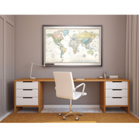 Classic Edition World Framed Wall Map