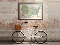 Classic Edition U.S. Framed Wall Map