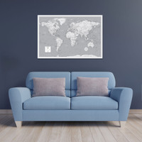Pin Your Journeys® World Wall Map in Black and White