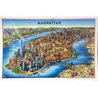 Unique Media Manhattan Laminated Map