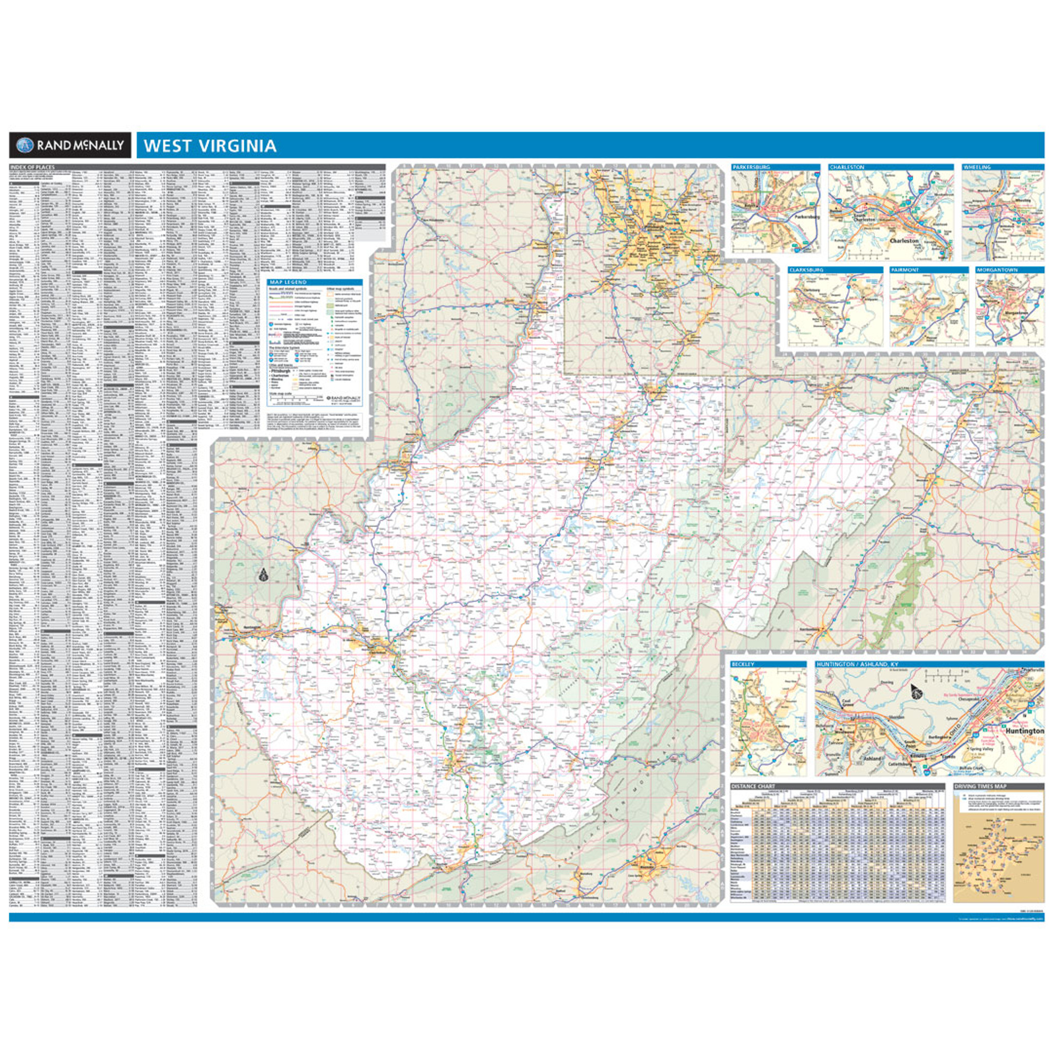 Rand McNally West Virginia State Wall Map