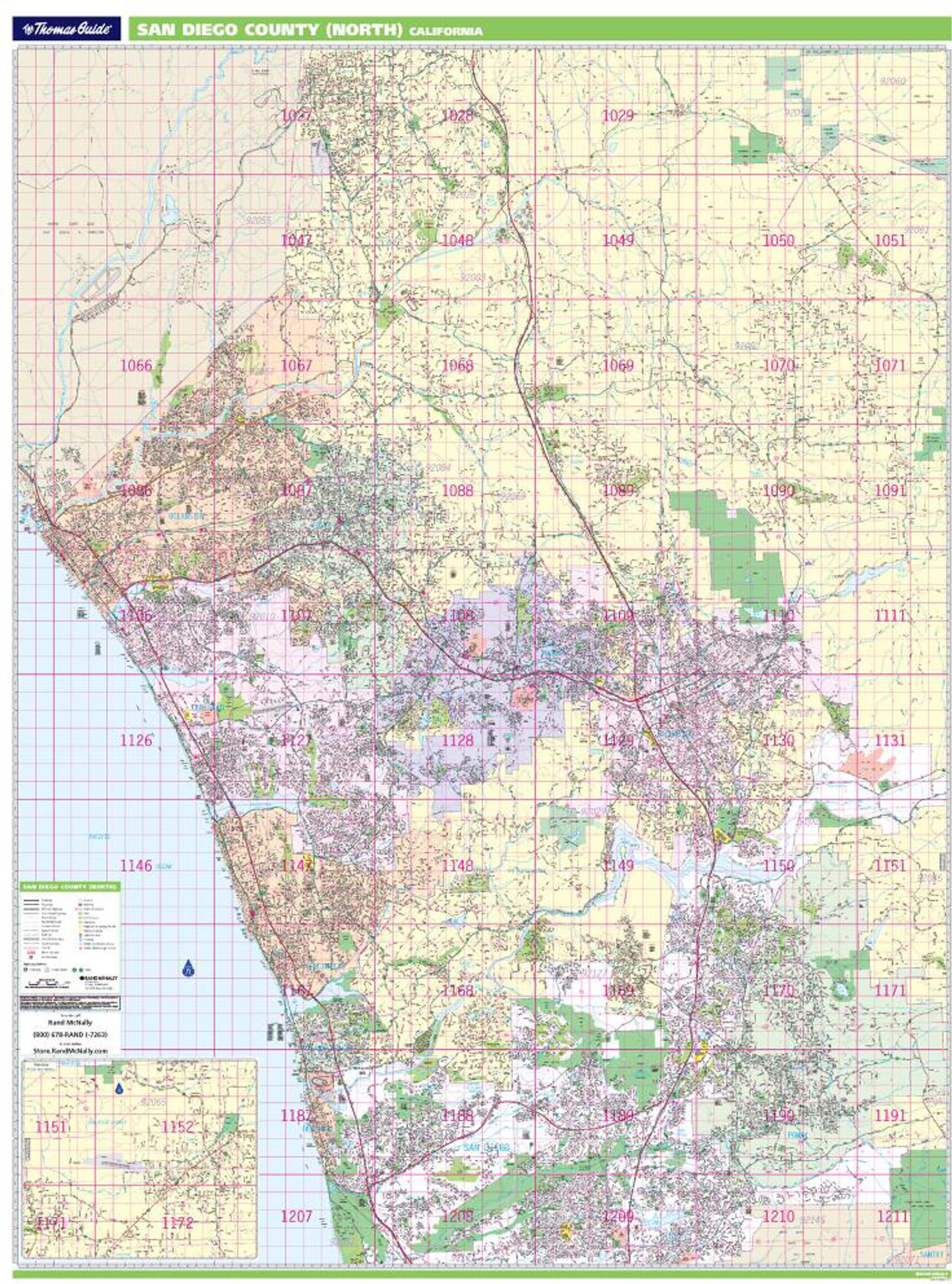 North County San Diego Map Thomas Bros. North San Diego County Wall Map