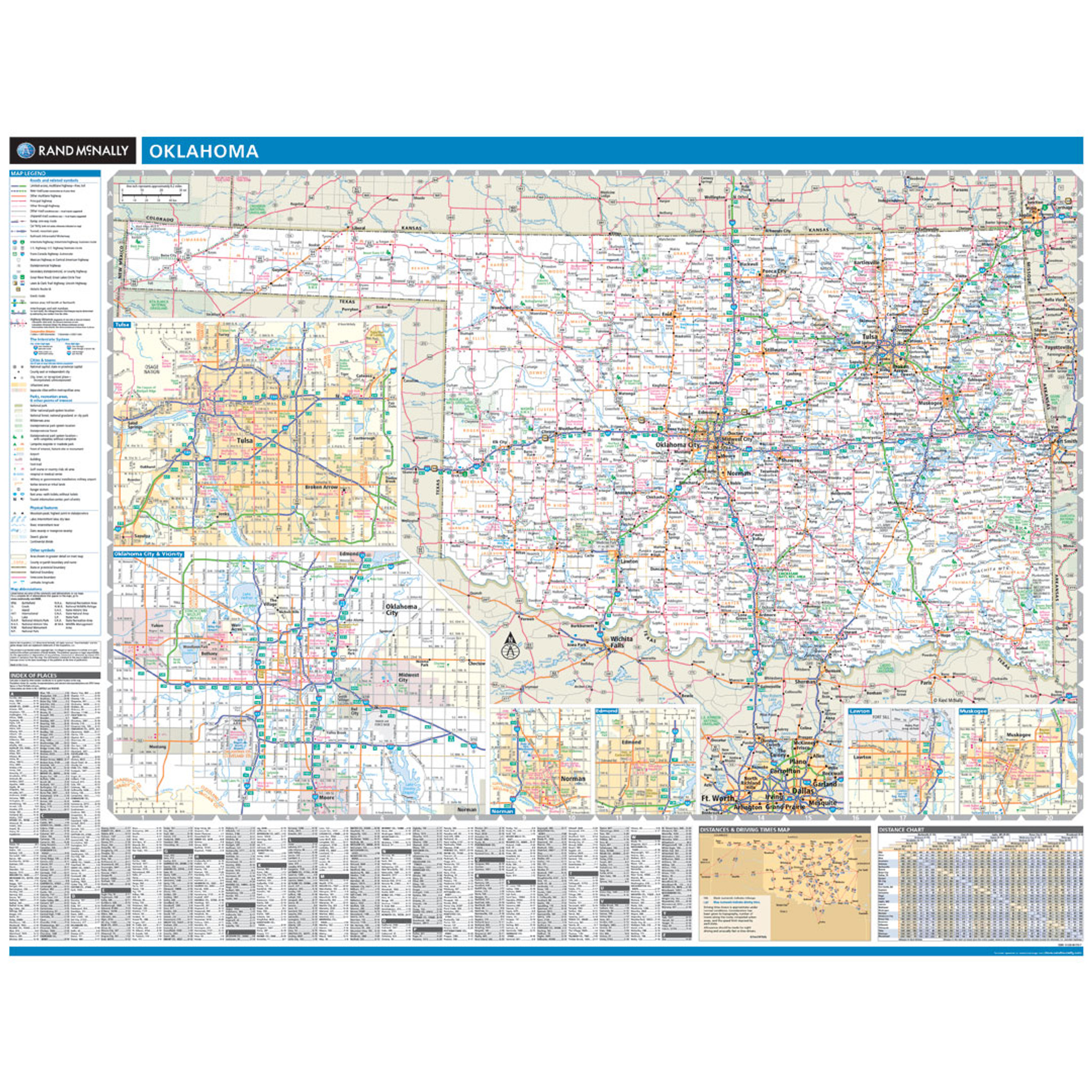 State Map Oklahoma.Rand Mcnally Oklahoma State Wall Map