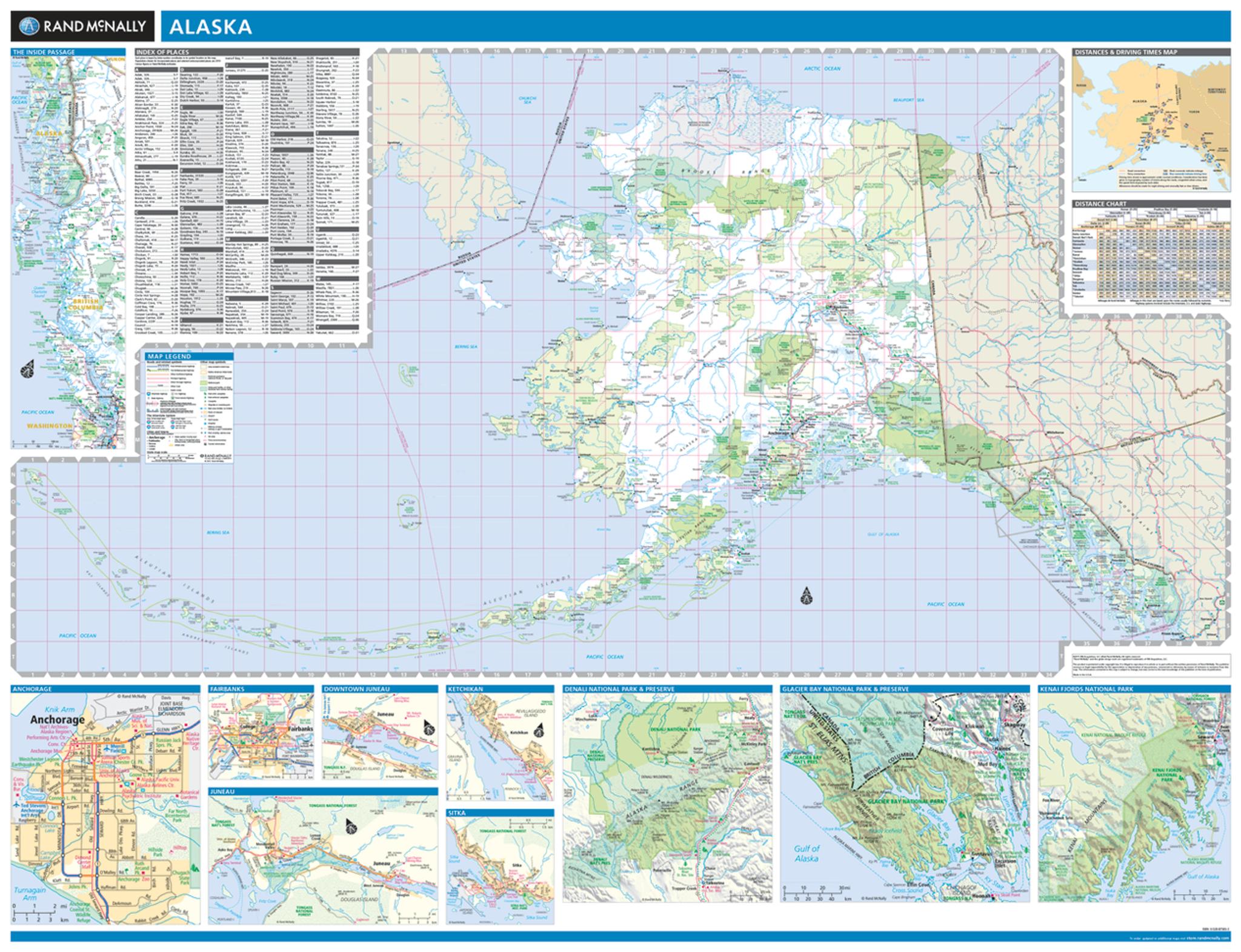 Rand Mcnally Alaska State Wall Map