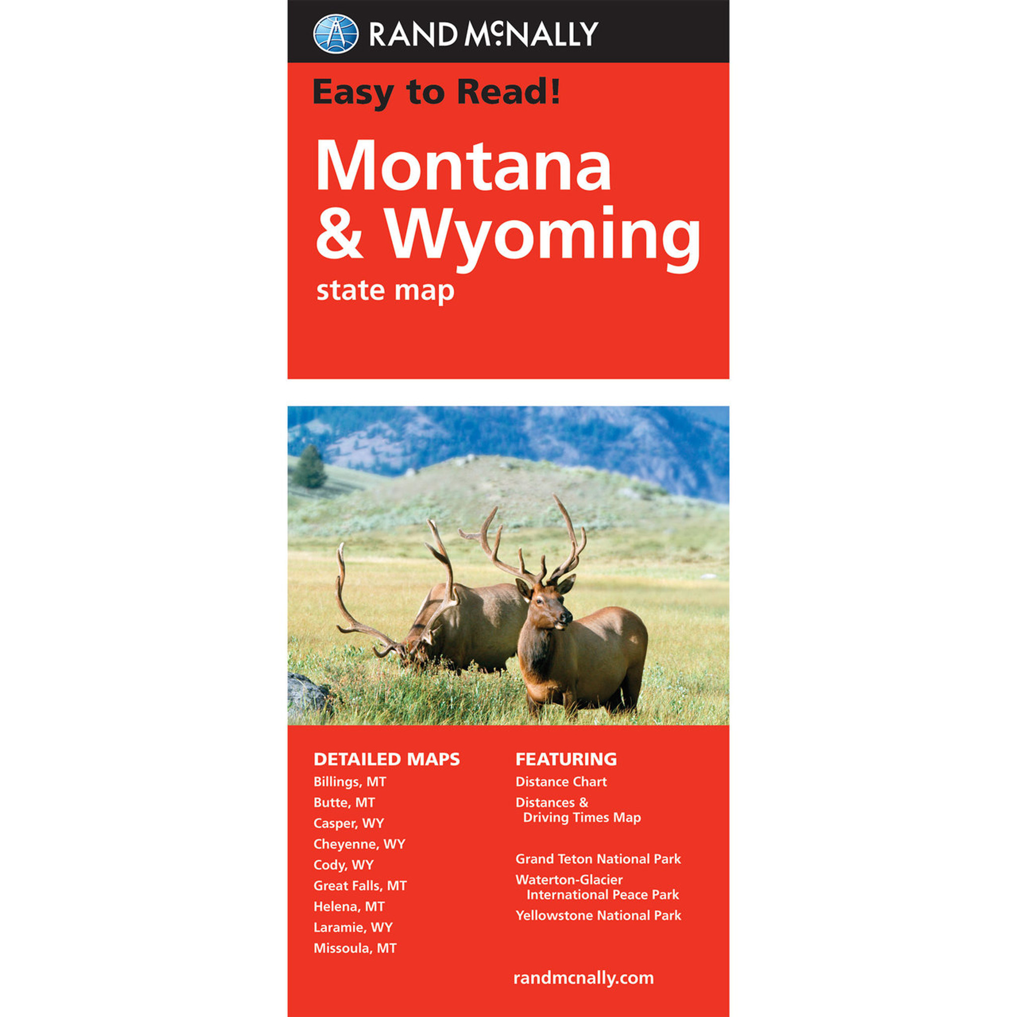 Rand McNally Easy To Read State Folded Map: Montana, Wyoming on