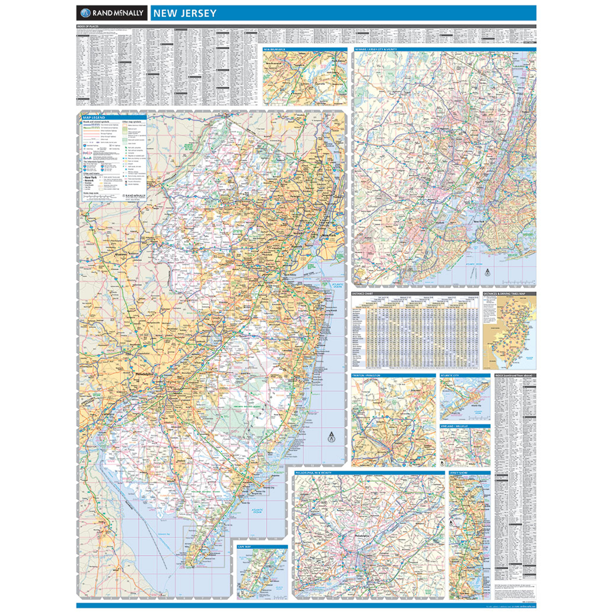 Rand McNally New Jersey State Wall Map