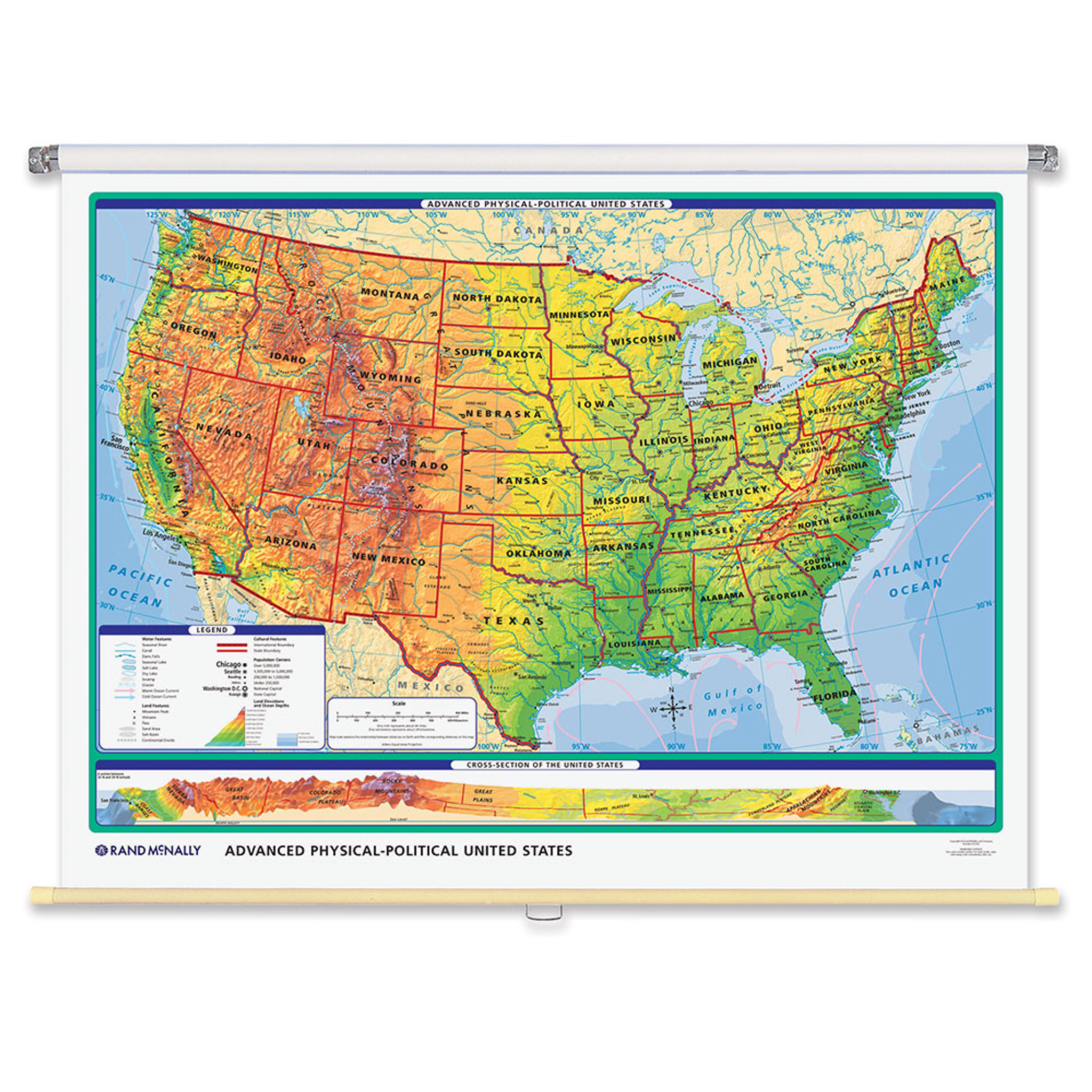 World U S Advanced Physical Political 3 Wall Map Combo Grades 6 12 Rand Mcnally Store