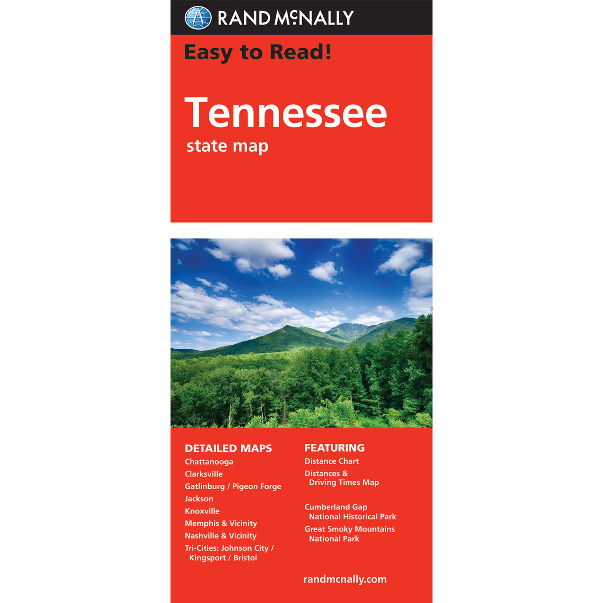 Rand Mcnally Easy To Read State Folded Map Tennessee
