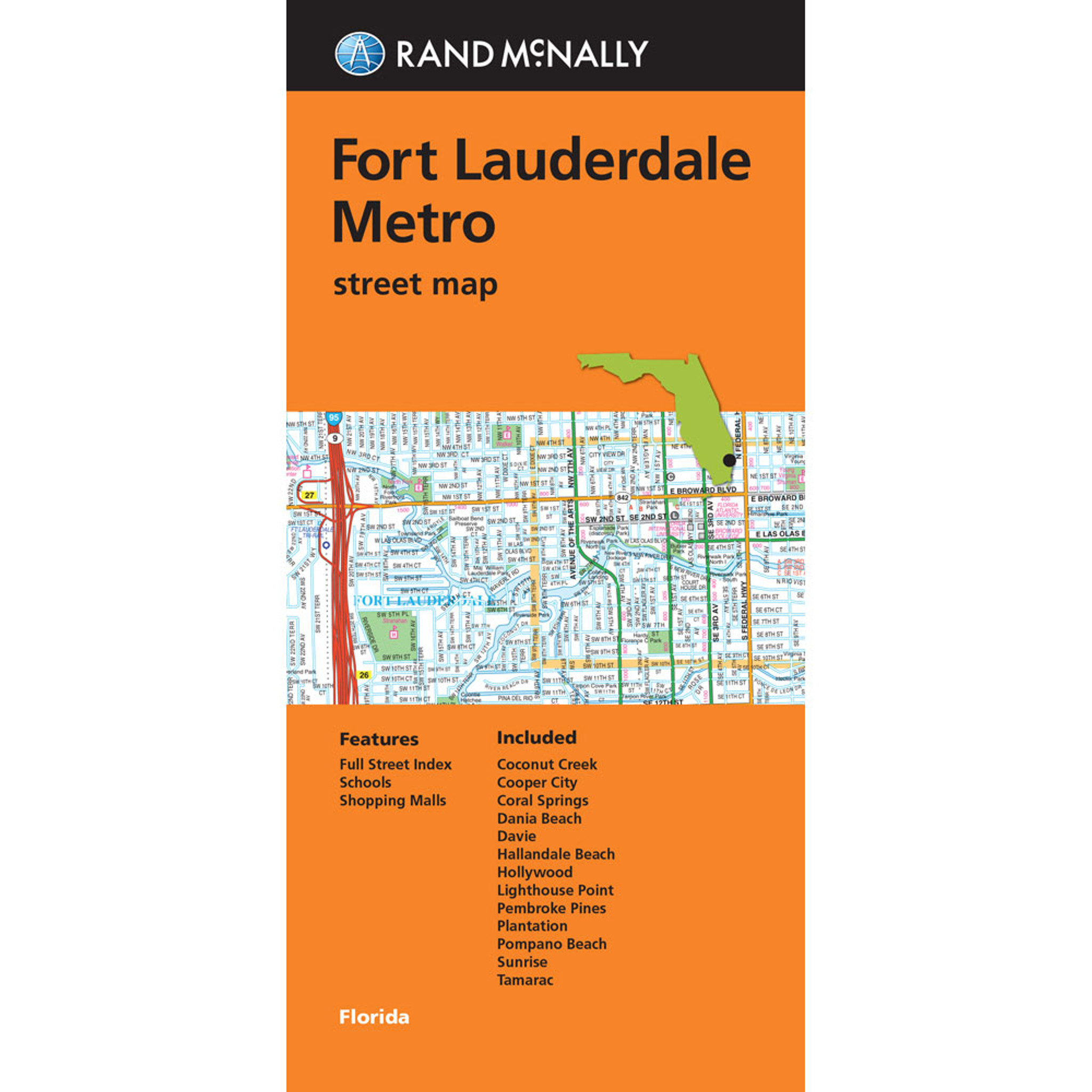 Ft Lauderdale On Map Of Florida.Folded Map Fort Lauderdale Metro Street Map