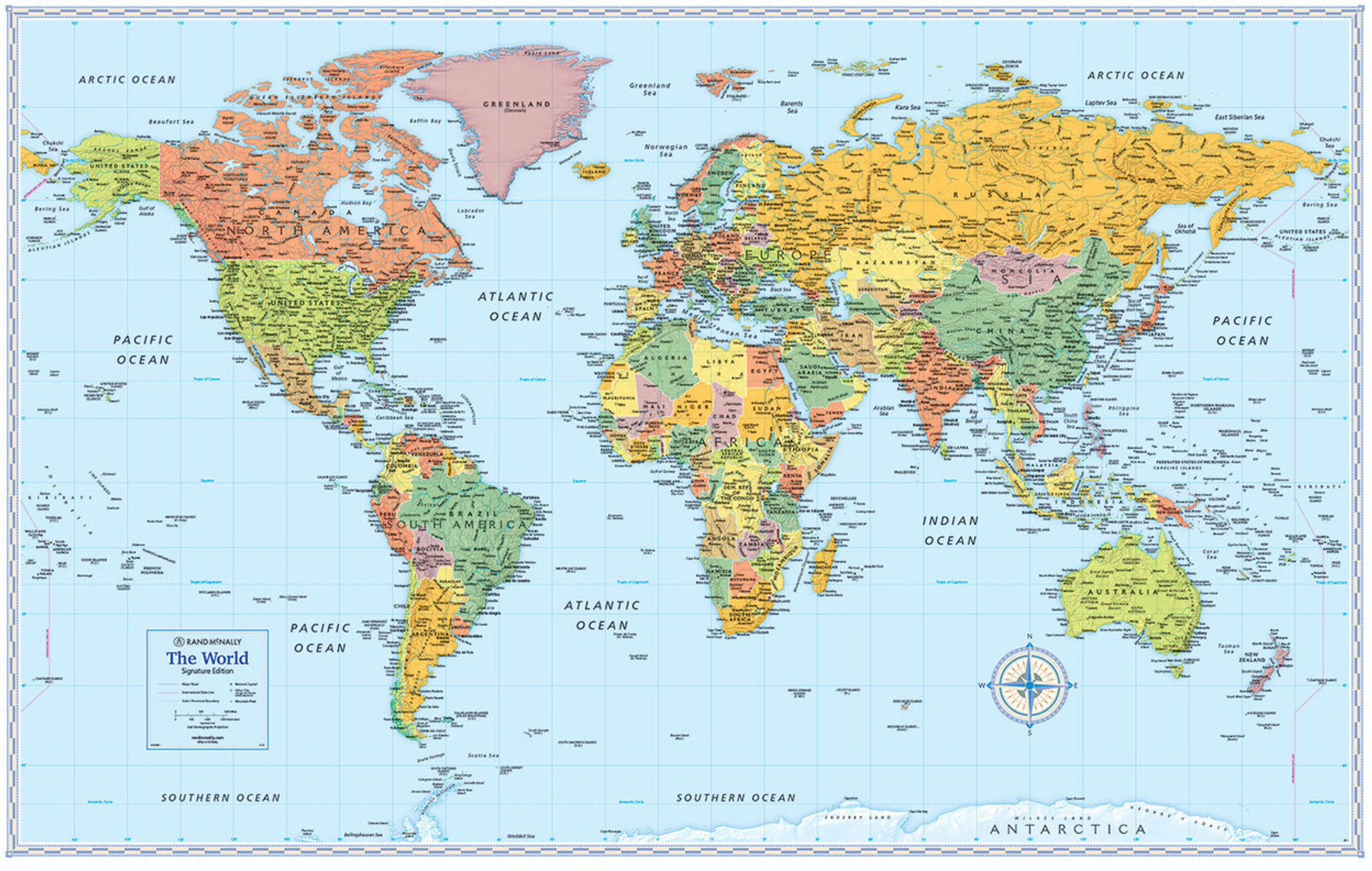 Wall Map Of The World Signature Edition World Wall Maps   Rand McNally Store