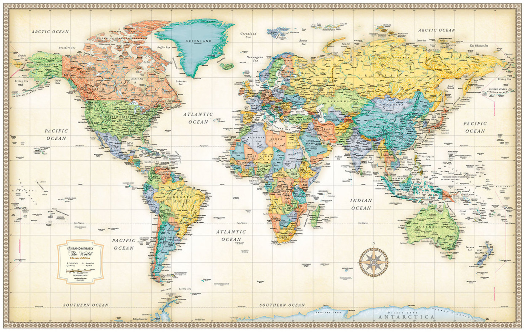 Wall Map Of The World Classic Edition World Wall Maps   Rand McNally Store