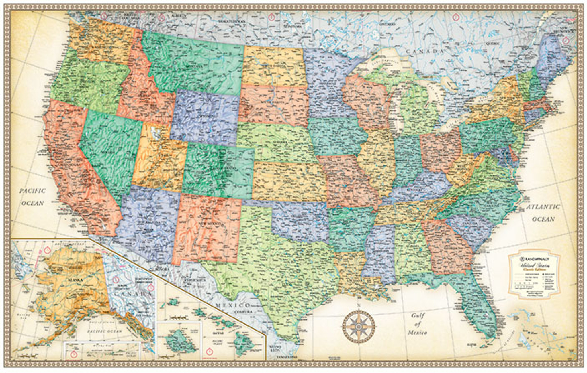 Rand Mcnally Us Road Map Classic Edition U.S. Wall Maps   Rand McNally Store