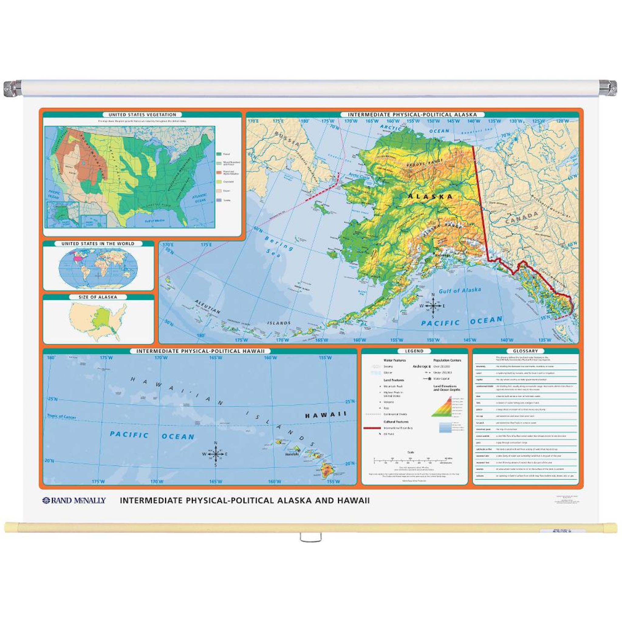 Alaska Physical-Political State Wall Map