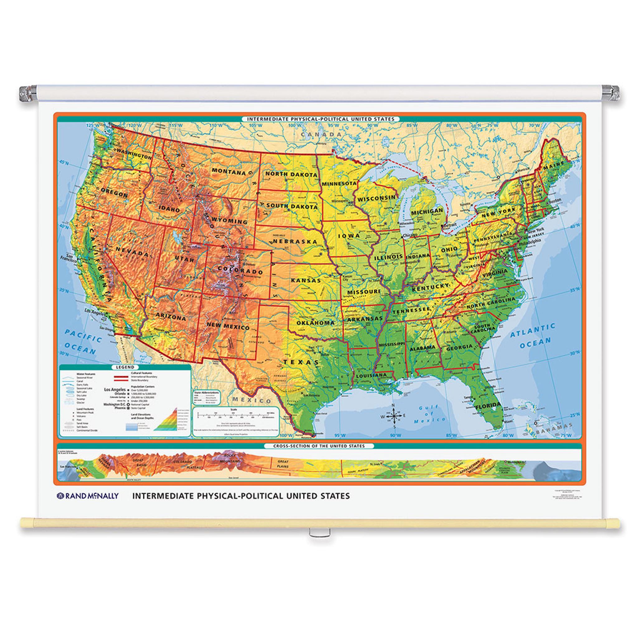 World & U.S. Intermediate Physical-Political 3-Wall Map Combo | Grades 4-12